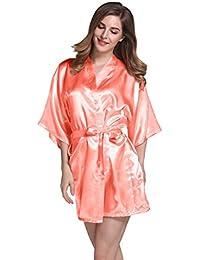Isassy Damen Kimono / Seidenrobe / Morgenmantel
