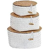 Hogar y Mas Maison et Plus Panier de Rangement en Osier décoratif Blanc. Lot de 3 paniers de différentes Tailles. Design…