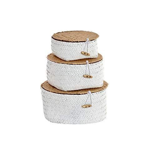 Hogar y Mas Cesta Mimbre de Almacenaje/Decorativa Blanca. Set de 3 cestas en Diferentes tamaños. Diseño Étnico/Boho
