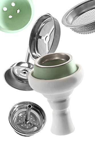 Kaya Shisha - Shisha Kopf Set - Perfekte Hitzeregulierung durch Silikonkopf mit Schamotteinsatz + Kaminaufsatz + Tabaksieb aus rostfreiem Edelstahl Shisha Zubehör Set - Weiß/Grün