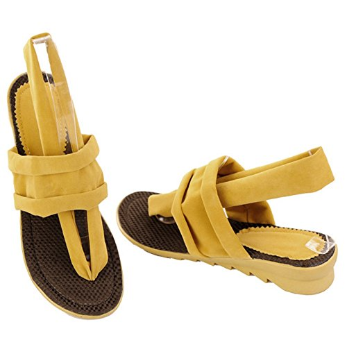 COOLCEPT Femmes Mode Tongs Sandales Talon bas Talons compenses Chaussures Beach Style Jaune