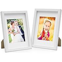 Photolini Set de 2 marcos de fotos de 15x20 cm, Marco 3D, en color blanco, Marco-MDF, con soporte y cristal/Marco de fotos