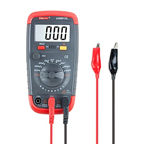 FeaturesCEcertifiedprofessionalcapacitancemeter.3 1/2 DigitsBig LCD (max .1999 Display), with Backlight.Data hold function.Manual adjustment knob for zeroing.Battery included.Specifications:Model: UA6013LRange / Accuracy:200pF,2000pF,20nF,2...
