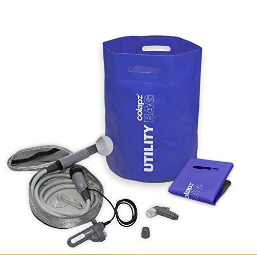 Tragbare Sicherheits-dusche (Colapz Dusch-Set für Hunde Hundedusche - Tragbare Dusche mit wiederaufladbarem Akku und faltbarem Wasserbehälter mit35 Litern Fassungsvermögen - Blau)