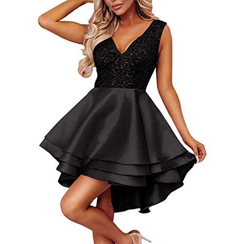 MAYOGO Petticoat Kleider Damen Kleider Kurz Rockabilly Kleid Vorne Kurz Hinten Lang Sequin Dress Glitzerkleid Empire Festliche Kleider für Damen, Ärmelloses Layered