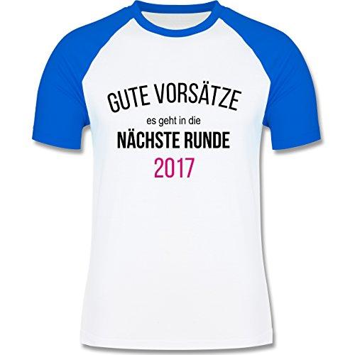 Weihnachten & Silvester - Lustiges Neujahr Motiv - zweifarbiges Baseballshirt für Männer Weiß/Royalblau