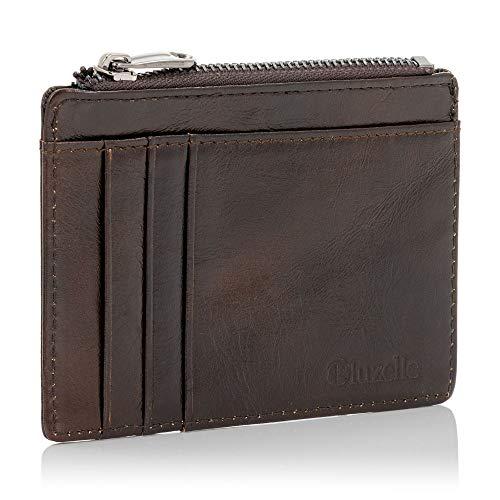 bluzelle Echt-Leder Kartenetui mit RFID Blocker & Münzfach - Mini Brieftasche, Kreditkarten-Halter, Portemonnaie, Slim Smart Wallet, Farbe:Coffee