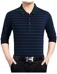 Simple-Fashion Primavera y Otoño Tops Hombres Moda Rayas Slim Tees Camisas  Poloshirt Remata Jumpers 5da13906d4e5