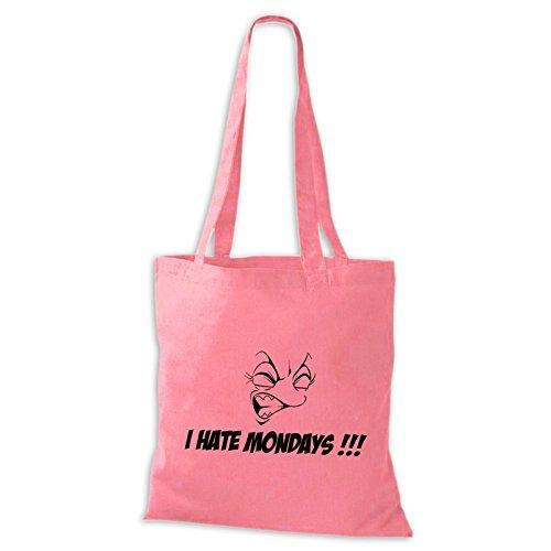 Sacchetto Di Juta Di Cotone Odio Il Lunedì !!! Divertente Dire Divertente Borsa Di Stoffa Rosa