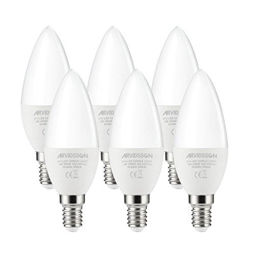 Arvidsson E14 LED Bombilla vela , 60W Equivalente, 6W Blanco cálido Candelabro SES Bombilla, 3000K 500LM C37 Casquillo Edison Bombillas, Ángulo de haz de 360 grados, no regulable, paquete de 6