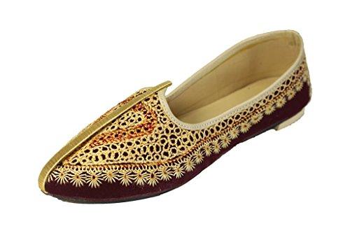 Sherwani Roi Dhoraji - Chaussures Noires De Khussa Indien Mojari, Couleur Noir, Taille 40.5