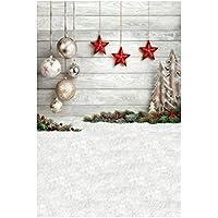 Uonlytech Telón de Fondo de Navidad Fotografía Tema de Navidad Estrellas Rojas y Bolas de Navidad Paño pictórico Fotografía Personalizada Fondo Estudio Prop 150x210 cm