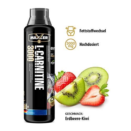 L-Carnitine 3000 Liquid   Hochdosiertes Diätetisches Getränk beliebt in Fettverbrennung-Diät, Definitionsphase   3000mg von L-Carnitin pro Portion   Erdbeere-Kiwi   500ml