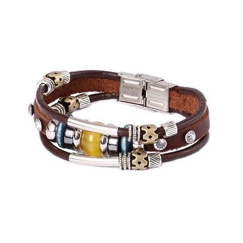 FAIRY COUPLE Bracelet en Cuir Vintage Multi Rangs Perle Jaune