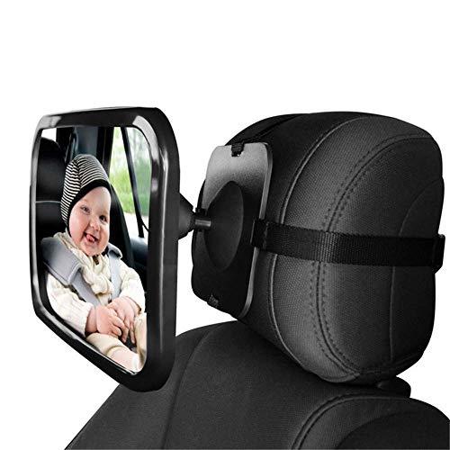W-top Espejo Retrovisor Coche de Bebé para Vigilar al Bebé en Coche, 360° Ajustable Irrompible Interior Espejo para Silla Trasera, Espejo Coche Bebe perfecto para Los Asientos de Niños Orientados Hacia Atrás y 100% Inastillable