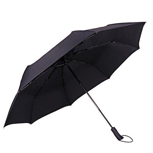 JTTVO, ombrello compatto, antivento, da 134,6cm, con apertura automatica, doppio telo, impermeabile, pieghevole ombrello per uomini e donne d'affari, con custodia in pelle portatile e scatola regalo