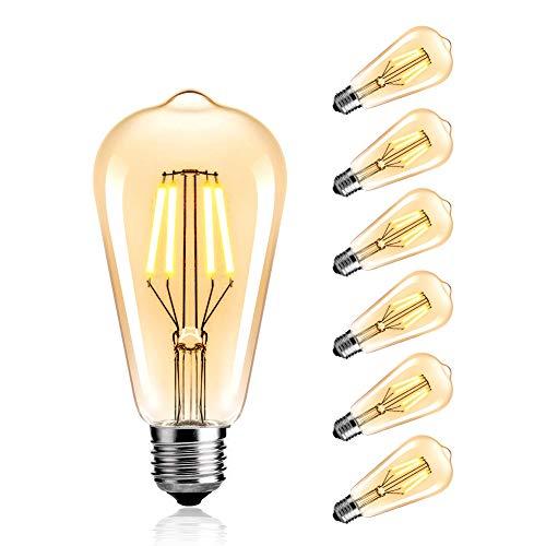 StillCool Vintage Edison LED Birne, LED Edison Glühbirne Dimmable 4W ST64 Squirrel Cage Filament Ideal für Nostalgie und Retro Beleuchtung Modell E27,2800K, Klarglas, Warm Weiß 6 Pack -