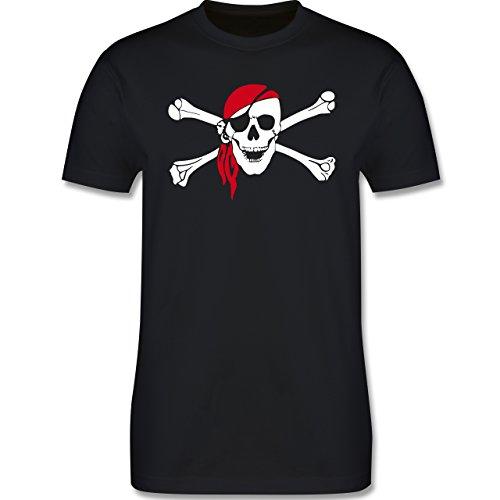Bunt gemischt Kinder - Totenkopf Pirat Kopftuch - 130-140 (9-10 Jahre) - Schwarz - L190K - Premium Kinder T-Shirt aus Baumwolle für Mädchen und (Piraten Shirts Mädchen Für T)