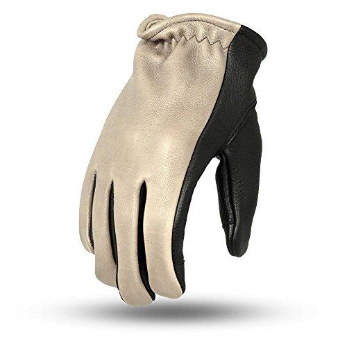 First Verarbeitung Herren 2Ton Roper Leder Touch Tech Finger Motorrad Handschuhe (Öl Sand/Schwarz, Medium), 1Stück (Leder Roper)