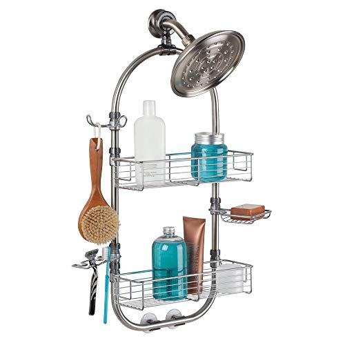 InterDesign Forma Bathroom Shower Caddy Station for Shampoo, Conditioner, Soap - Brushed Stainless Steel