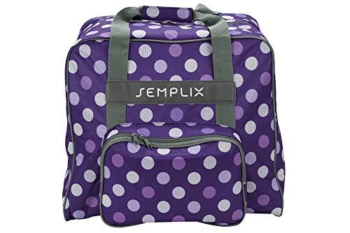 SEMPLIX Overlocktasche/Coverlocktasche Polka Dots 44x38x33cm, Groß, Stabil, für Transport/Aufbewahrung Aller gängiger Maschinen, Lila/Flieder 44x38x33 cm