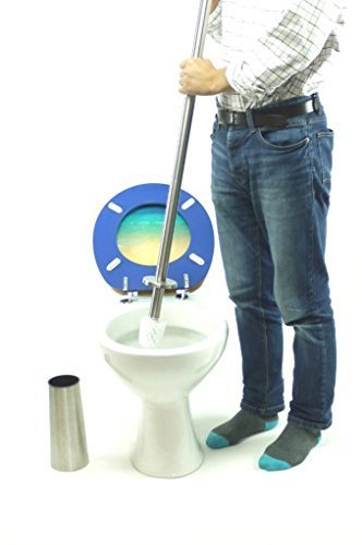 topfurnishing Lange WC-Bürstenhalter Edelstahl Qualität Wechselkopf dicker Griff, 91cm hoch 1.9cm, Metall, silber, 20x 20x 30cm