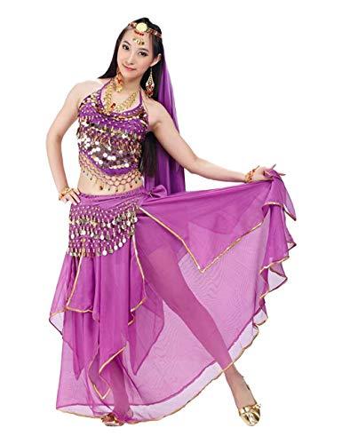G-like BellyQueen Tanz Kostüm Bauchtanz Kleid - Orientalischer Tanz Arabisch Sexy Professionelle Farbenreiche Kleidung Set Outfit für Tänzerin Damen - Chiffon - 5 Stück (Violett) -