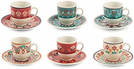 Villa d'Este Home Tivoli Shiraz Set Tazzine Caffè, Porcellana, Multicolore, 6 Unità