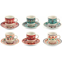 Villa d 'Este Home Tivoli Shiraz Juego Tazas Café. Porcelana. Multicolor. 6Unidades.