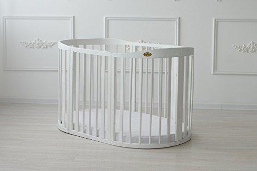 Comfort Baby® erweiterbares Baby Cama Cuna Smart Grow 7in1Madera Maciza En Blanco–Multifuncional puede usarse como Parque, cama cama auxiliar, Mini, silla y mesa Combinación blanco beige (pfirsisch)