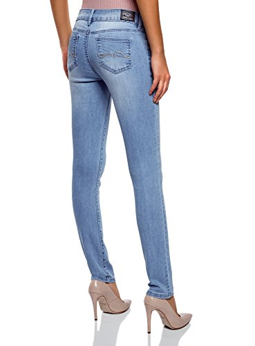 oodji Ultra Damen Jeans Skinny mit Niedrigem Bund Blau (7000W)