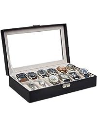 Relaxdays Caja para Relojes, Piel Sintética, Negro, 20.5x33.5x7.5 cm