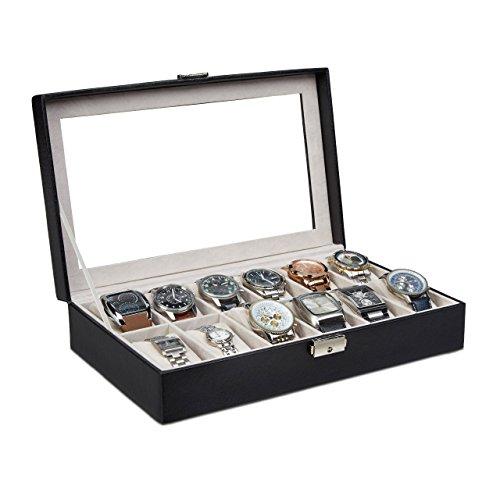 Relaxdays Uhrenbox Kunstleder, Uhrenkasten 12 Uhren, Uhrenkoffer verschließbar, Samt, HBT: 7,5 x 33,5 x 20,5 cm, schwarz