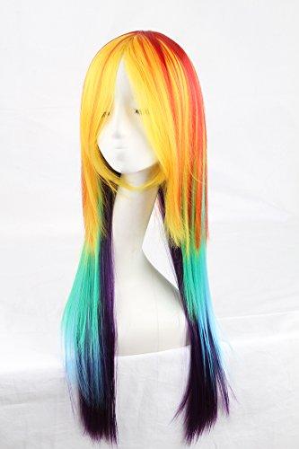 etische Cosplay Perücke Rainbow Dash Multi Farbe hitzebeständig cosplay Party/Täglich Soft Touch Haar Perücke peruca peluca (28 Japanische Halloween-kostüme)