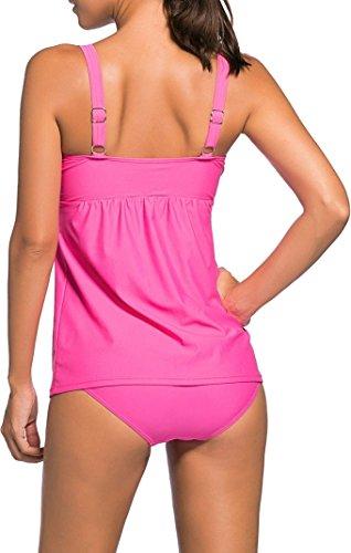 Damen Tankini Bikini Bademode Badeanzug Träger Uni Polster Zweiteiler Slip Top Pink