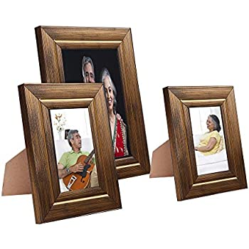 Amazon Brand - Solimo Collage Photo Frames, Set of 3, Tabletop (2 pcs - 4x6 inch, 1 pc - 6x8 inch), Golden