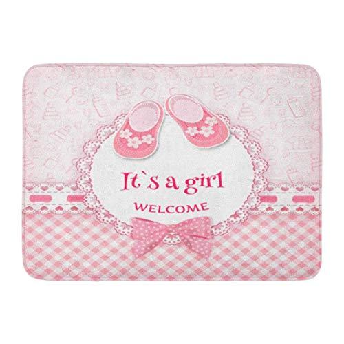Soefipok Fußmatten Bad Teppiche Outdoor/Indoor Fußmatte rosa Mädchen Baby willkommen Geburt geboren Neugeborenen Band Badezimmer Dekor Teppich Badematte (Outdoor-baby-dekor)
