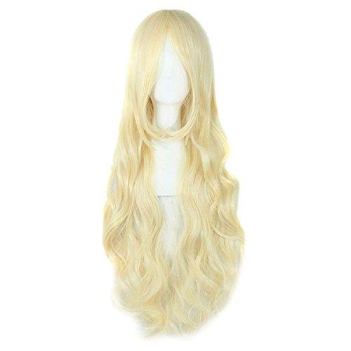 Damen 100CM Langhaar Kunsthaar Gerade/Glatt Lange Perücken Voll Wig Wigs Cosplay Partei Party (Perücke Blonde Cosplay)