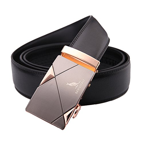 Men Belt SAN VITALE Designer Belts Men High Quality Casual Reversible Buckle with Automatic Ratchet Genuine Leather Belt for Men 35mm Wide 1 3/8