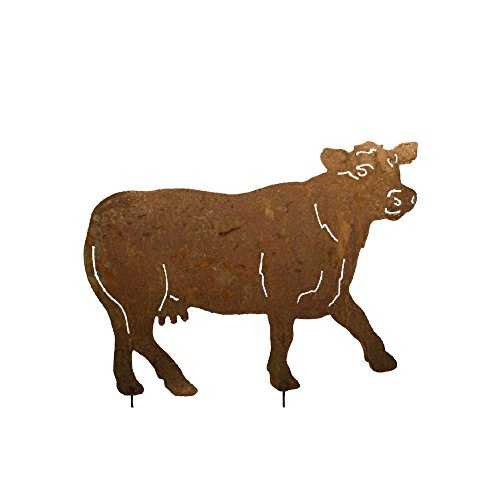 megaso-store Gartenfigur Metall - Kuh - Edelrost - Höhe: 49 cm + 20 cm Stab - Breite 68 cm - zum stecken
