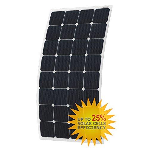 110W semiflexiblem Solar Panel mit runden rund hinten Abzweigdose und 3m Kabel, aus Back-Contact Zellen mit robuster ETFE Beschichtung, für ein Wohnmobil, Wohnwagen, Wohnmobil, RV, LKW, Trailer, oder für ein Boot/Yacht, oder ein Solar Power System