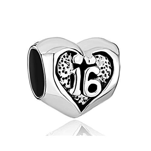 Poetic Charms Damen Bead 925 Sterling Silber Herz Zum 18/16 Geburtstag Glücklich Nummer Charm für Europäische Armband (Happy Birthday Charme Pandora)