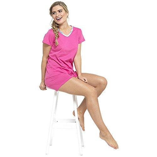 Ladies 2 In 1 Pyjama short Ou Long Ensemble 3 Piece Avec Salon chaussette rose avec chaussette longues