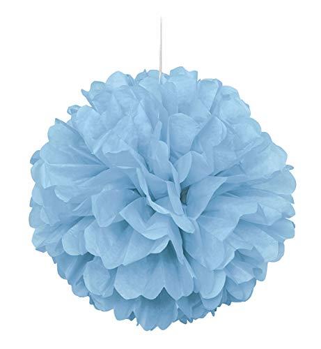 Unique Party- Pompón de papel de seda, Color azul claro, 40 cm (63201)