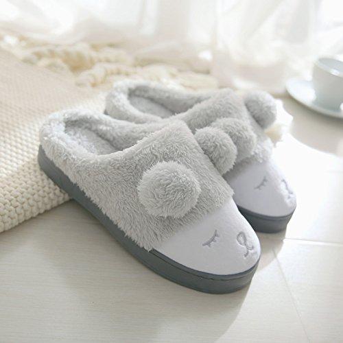 DogHaccd pantofole,Inverno carino spesse pantofole di cotone di uomini e di donne con inverno caldo giovane indoor home pantofole Meng trascinare - grigio chiaro