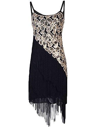 Kayamiya Damen 1920er Pailltte Muster Tiered Quaste Gatsby Flapper Kleid L (Kostüme 1920's Party)