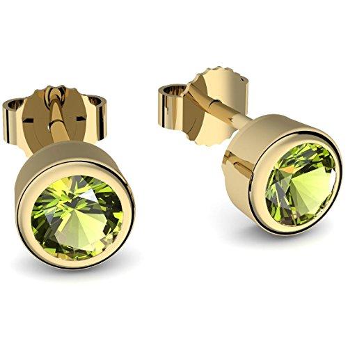 Ohrstecker Gold Peridot (**Echte Peridote**) Ohrringe Peridot Gold - inkl. Luxusetui - Goldohrstecker Ohrschmuck Goldohrringe Ohrstecker grüner Stein Ohrringe grün Gelbgold FF47 VGGGPEFA