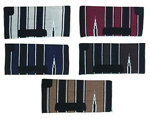NETPROSHOP Sattelunterlage Navajo Western Pad Weiches Webfell Lederverstärkung Full, Farbe:Schwarz/Dunkelblau