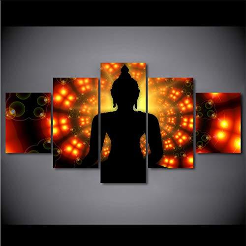myvovo (Kein Rahmen) Dekoration HD Poster Gedruckt Bild Moderne 5 Modulare Panel Buddha Hintergrundbeleuchtung Leinwand Wandkunst HomeWohnzimmer Malerei