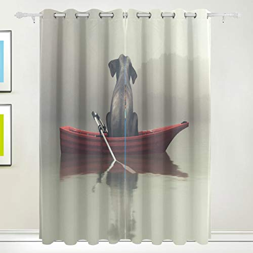 XiangHeFu Morden Blackout Vorhänge mit Tülle Oben Rafting Lustige Elefant Vorhänge Set aus 2 Panels, jeweils 55W x 84L Zoll für Home Living Bedroom Office (84-zoll-dusche Vorhang Braun)